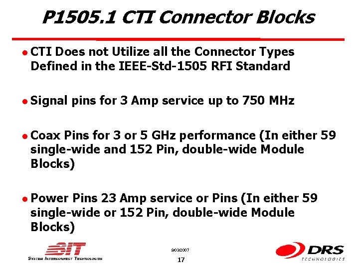 P 1505. 1 CTI Connector Blocks l CTI Does not Utilize all the Connector