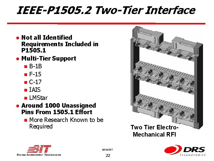 IEEE-P 1505. 2 Two-Tier Interface l l l Not all Identified Requirements Included in