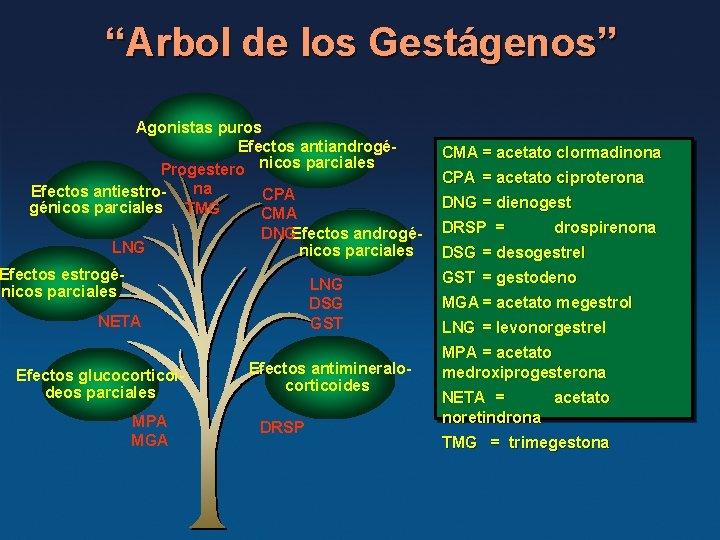 """""""Arbol de los Gestágenos"""" Agonistas puros Efectos antiandrogéProgestero nicos parciales na Efectos antiestro. CPA"""