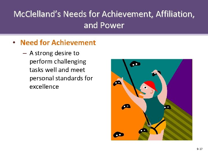 Mc. Clelland's Needs for Achievement, Affiliation, and Power • Need for Achievement – A