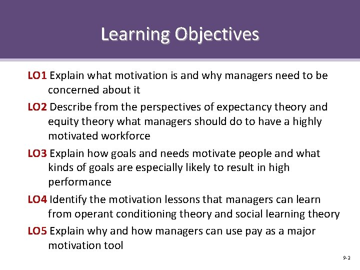 Learning Objectives LO 1 Explain what motivation is and why managers need to be
