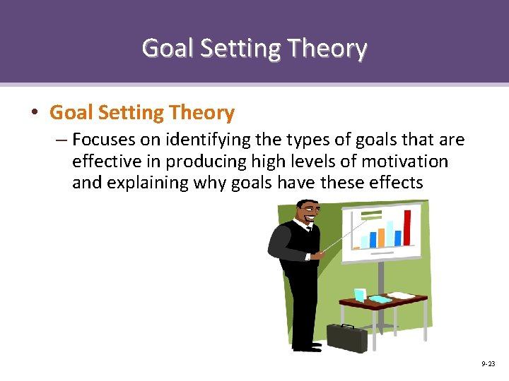 Goal Setting Theory • Goal Setting Theory – Focuses on identifying the types of