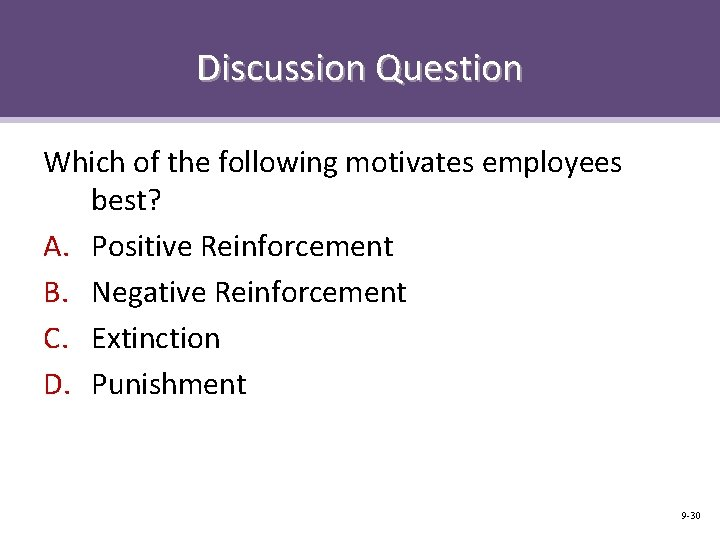 Discussion Question Which of the following motivates employees best? A. Positive Reinforcement B. Negative