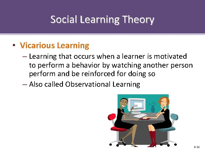 Social Learning Theory • Vicarious Learning – Learning that occurs when a learner is