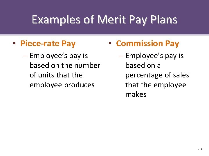 Examples of Merit Pay Plans • Piece-rate Pay – Employee's pay is based on