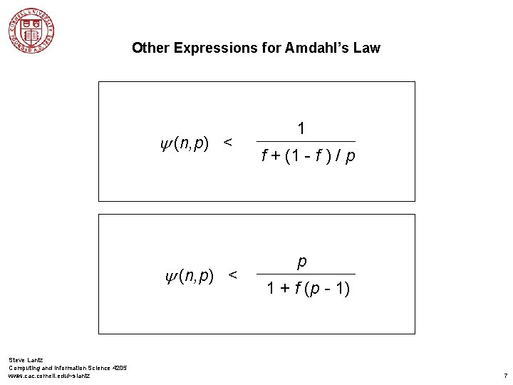 Other Expressions for Amdahl's Law y (n, p) < Steve Lantz Computing and Information