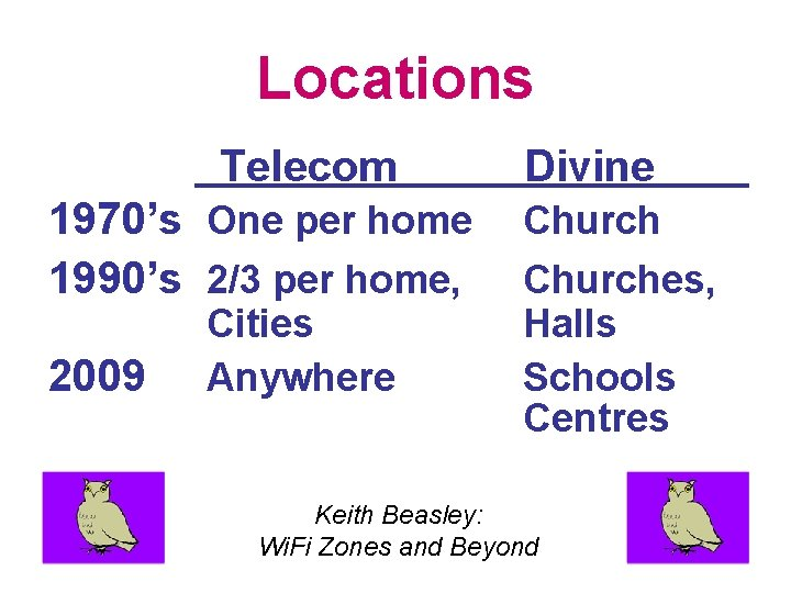 Locations Telecom 1970's One per home 1990's 2/3 per home, 2009 Cities Anywhere Divine