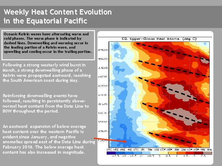 Weekly Heat Content Evolution in the Equatorial Pacific Oceanic Kelvin waves have alternating warm