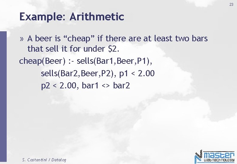 """23 Example: Arithmetic » A beer is """"cheap"""" if there at least two bars"""