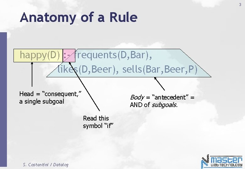 3 Anatomy of a Rule happy(D) : - frequents(D, Bar), likes(D, Beer), sells(Bar, Beer,