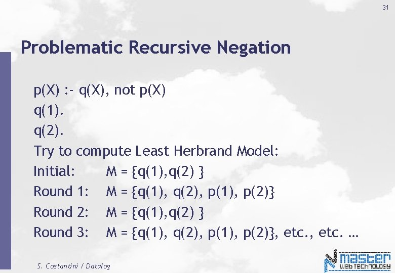 31 Problematic Recursive Negation p(X) : - q(X), not p(X) q(1). q(2). Try to