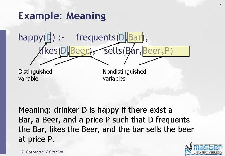 7 Example: Meaning happy(D) : - frequents(D, Bar), likes(D, Beer), sells(Bar, Beer, P) Distinguished