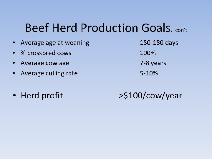 Beef Herd Production Goals, con't • • Average at weaning % crossbred cows Average