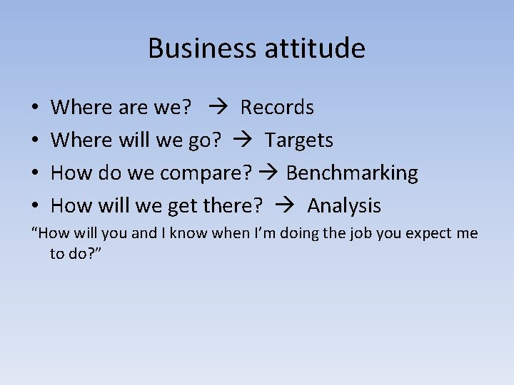 Business attitude • • Where are we? Records Where will we go? Targets How