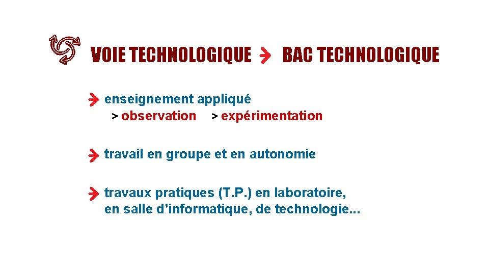 VOIE TECHNOLOGIQUE BAC TECHNOLOGIQUE enseignement appliqué > observation > expérimentation travail en groupe et