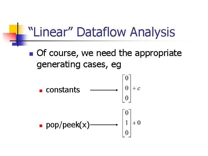 """""""Linear"""" Dataflow Analysis n Of course, we need the appropriate generating cases, eg n"""