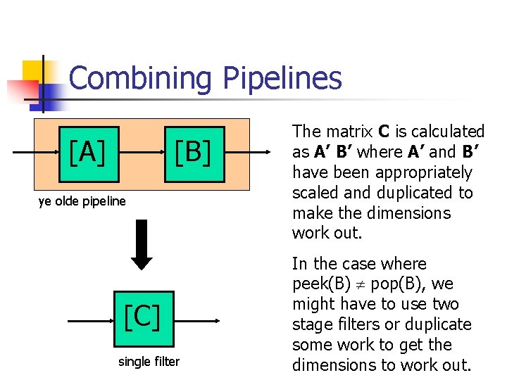 Combining Pipelines [A] [B] ye olde pipeline [C] single filter The matrix C is