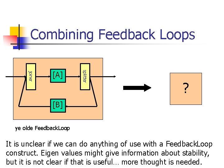 Combining Feedback Loops splitter joiner [A] ? [B] ye olde Feedback. Loop It is