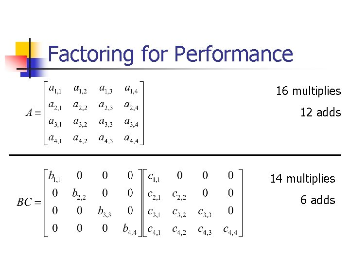 Factoring for Performance 16 multiplies 12 adds 14 multiplies 6 adds