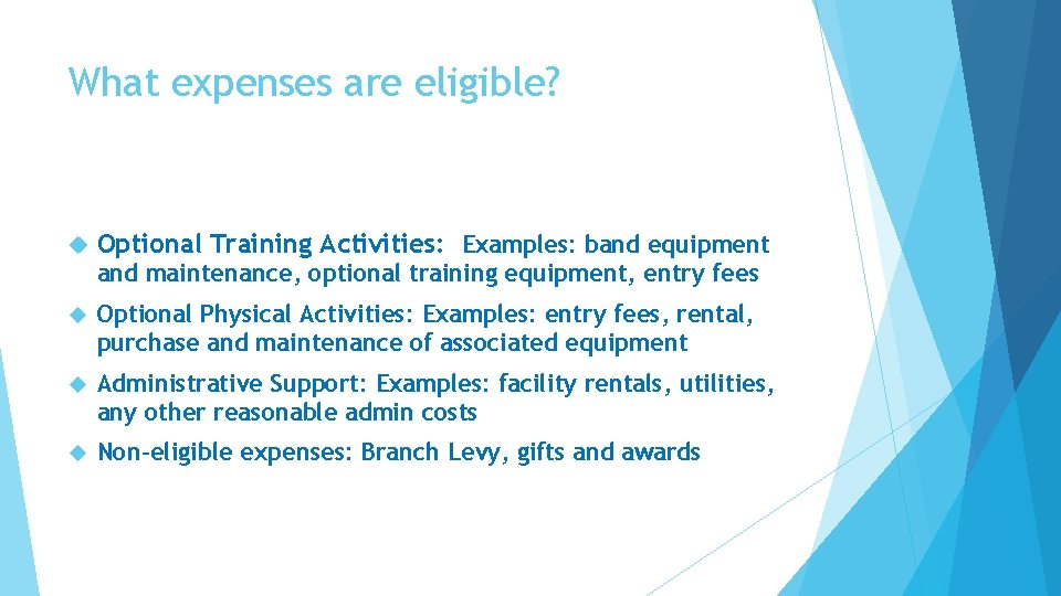 What expenses are eligible? Optional Training Activities: Examples: band equipment and maintenance, optional training