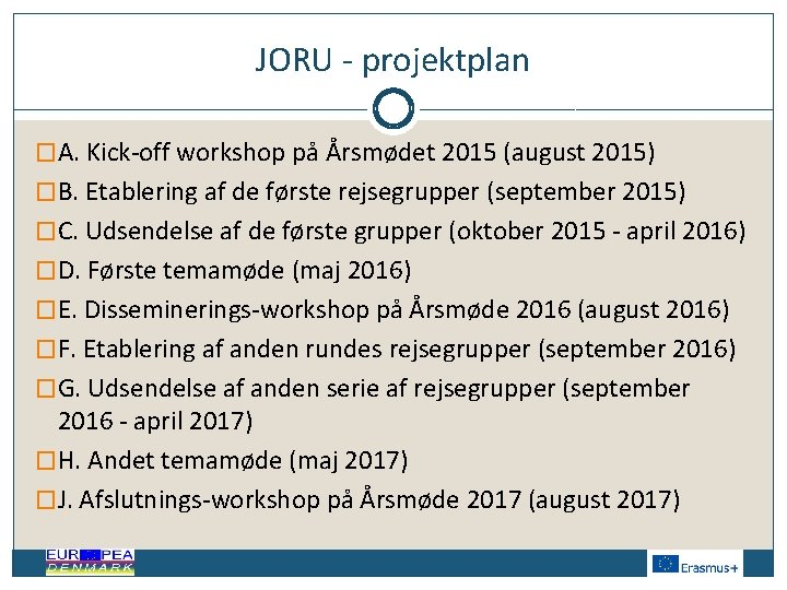 JORU - projektplan �A. Kick-off workshop på Årsmødet 2015 (august 2015) �B. Etablering af