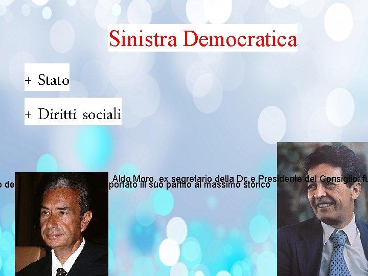 Sinistra Democratica + Stato + Diritti sociali Aldo Moro, ex segretario della Dc e