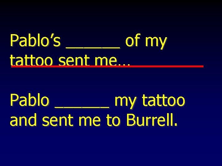 Pablo's ______ of my tattoo sent me… Pablo ______ my tattoo and sent me