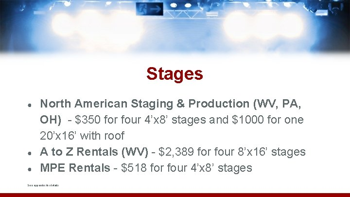 Stages ● ● ● North American Staging & Production (WV, PA, OH) - $350