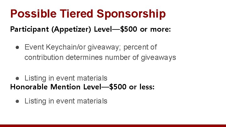 Possible Tiered Sponsorship Participant (Appetizer) Level—$500 or more: ● Event Keychain/or giveaway; percent of