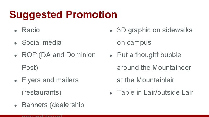 Suggested Promotion ● Radio ● Social media ● ROP (DA and Dominion ● 3