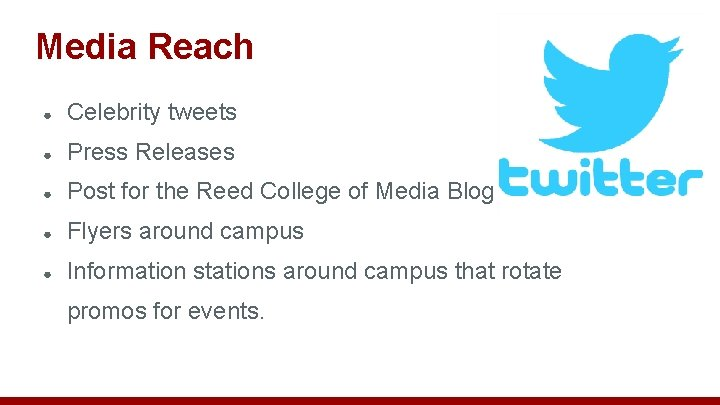 Media Reach ● Celebrity tweets ● Press Releases ● Post for the Reed College