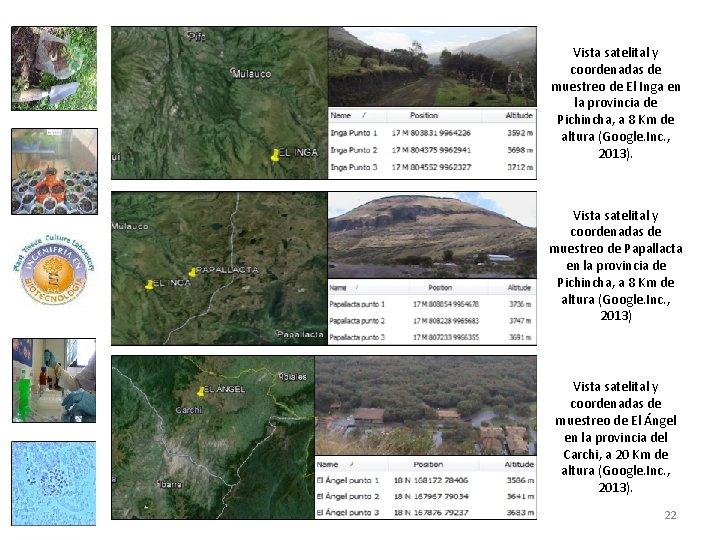 Vista satelital y coordenadas de muestreo de El Inga en la provincia de Pichincha,
