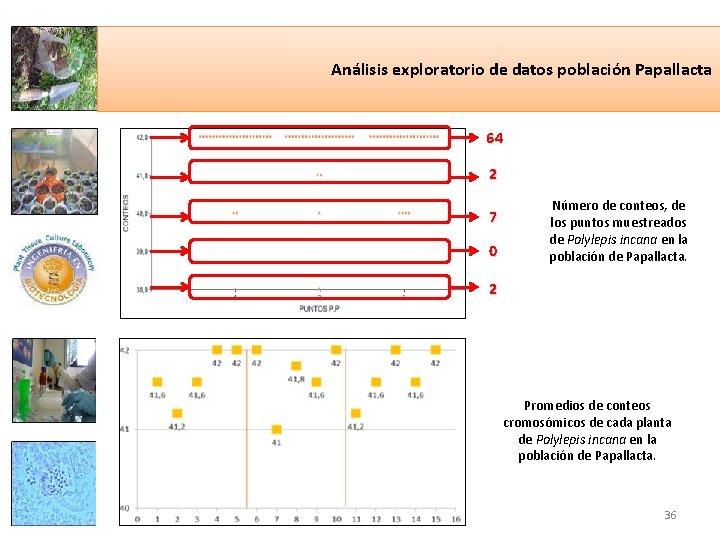 Análisis exploratorio de datos población Papallacta 64 2 7 0 Número de conteos, de