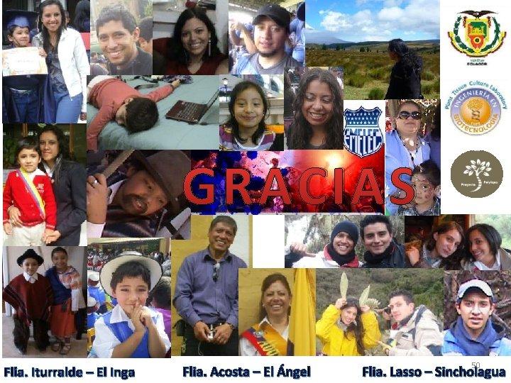 GRACIAS Flia. Iturralde – El Inga Flia. Acosta – El Ángel 50 Flia. Lasso