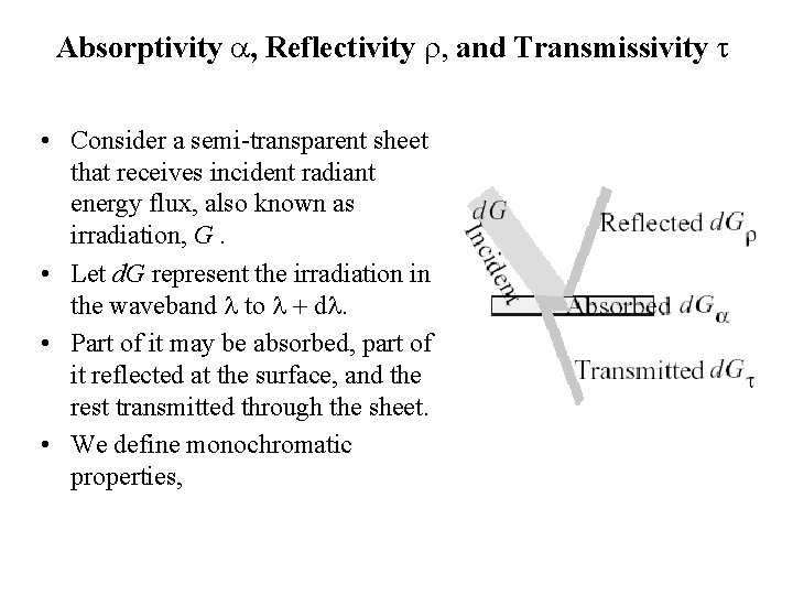 Absorptivity a, Reflectivity r, and Transmissivity t • Consider a semi-transparent sheet that receives