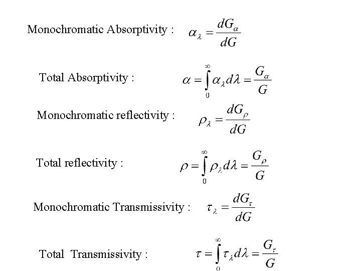 Monochromatic Absorptivity : Total Absorptivity : Monochromatic reflectivity : Total reflectivity : Monochromatic Transmissivity