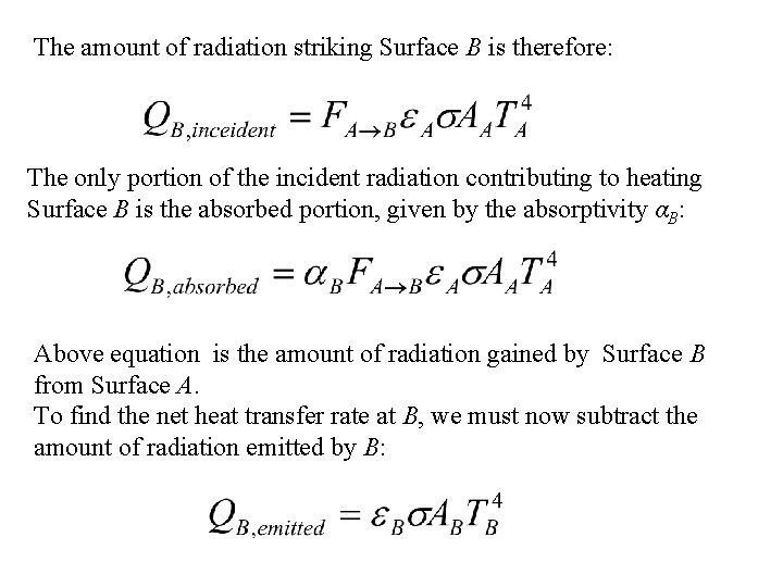The amount of radiation striking Surface B is therefore: The only portion of the