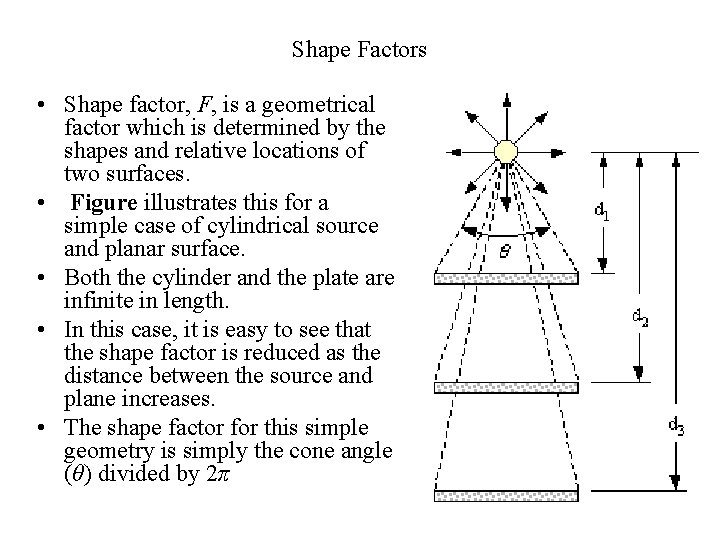Shape Factors • Shape factor, F, is a geometrical factor which is determined by