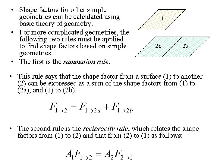 • Shape factors for other simple geometries can be calculated using basic theory
