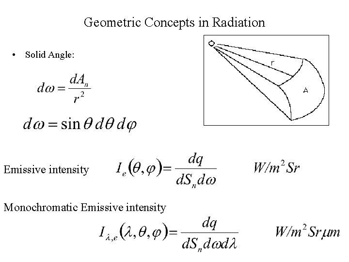 Geometric Concepts in Radiation • Solid Angle: Emissive intensity Monochromatic Emissive intensity