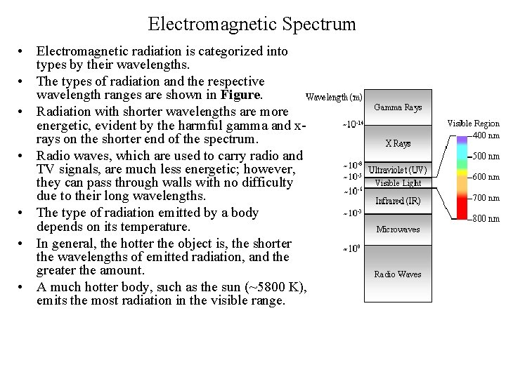Electromagnetic Spectrum • Electromagnetic radiation is categorized into types by their wavelengths. • The