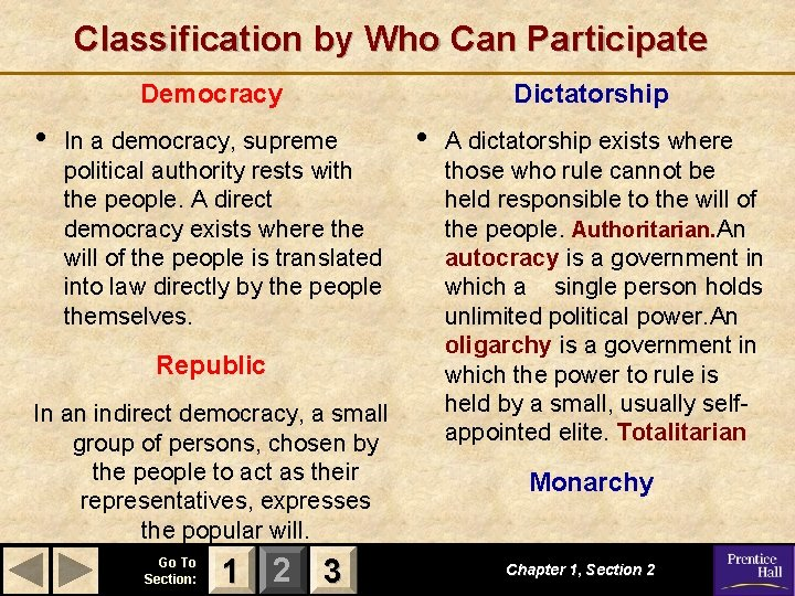 Classification by Who Can Participate Democracy • In a democracy, supreme political authority rests