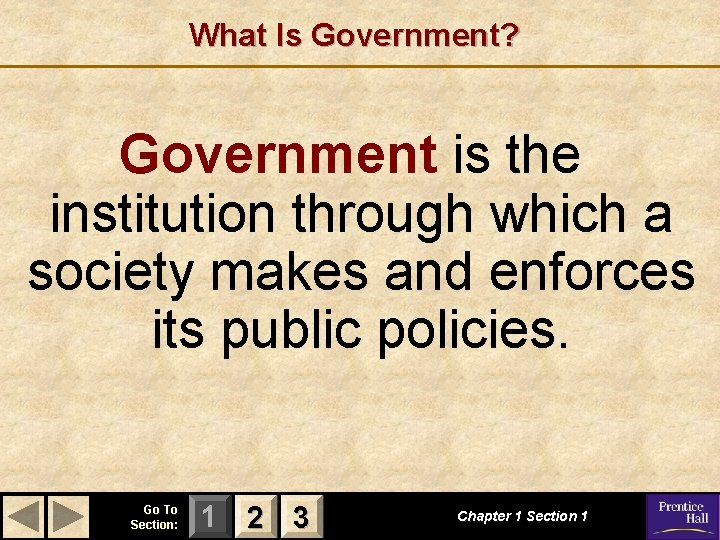 What Is Government? Government is the institution through which a society makes and enforces