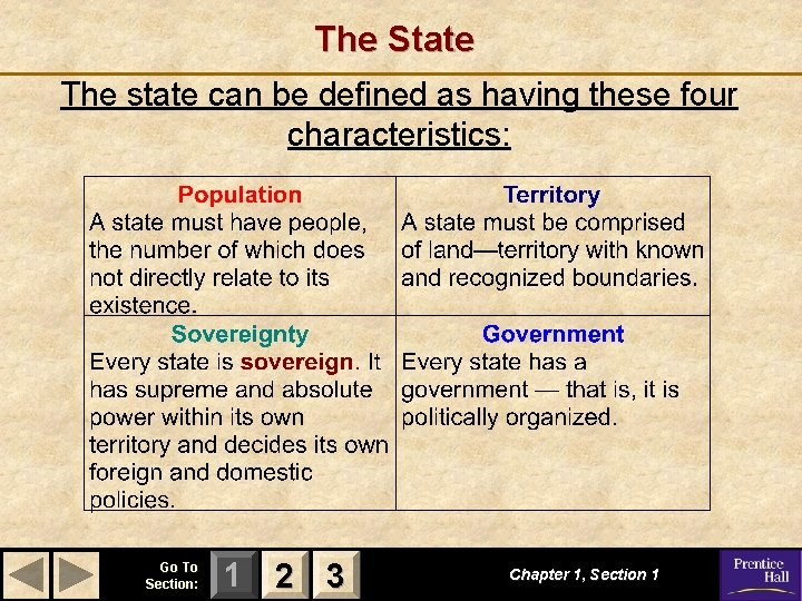 The State The state can be defined as having these four characteristics: Go To