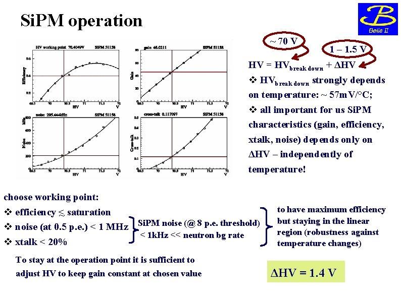 Si. PM operation ~ 70 V 1 – 1. 5 V HV = HVbreak