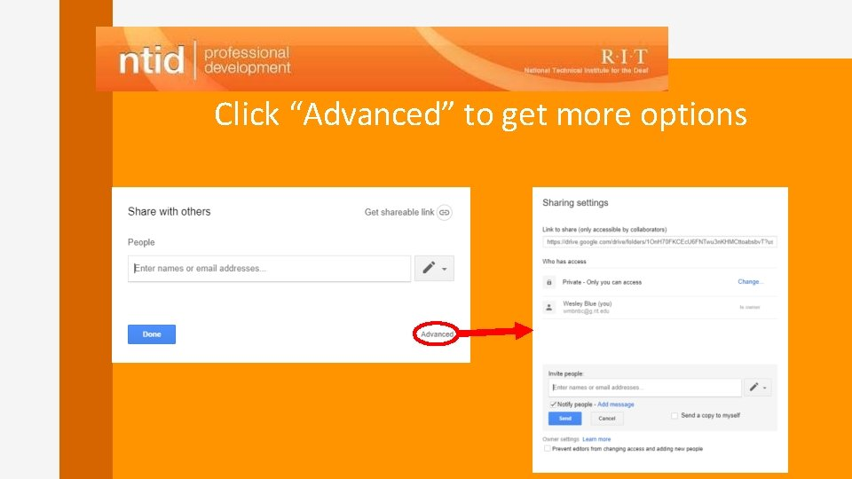 """Click """"Advanced"""" to get more options"""