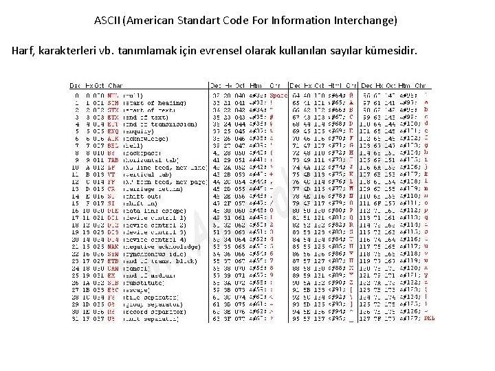 ASCII (American Standart Code For Information Interchange) Harf, karakterleri vb. tanımlamak için evrensel olarak