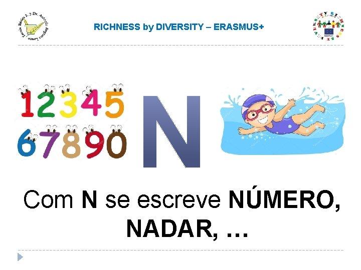 RICHNESS by DIVERSITY – ERASMUS+ Com N se escreve NÚMERO, NADAR, …