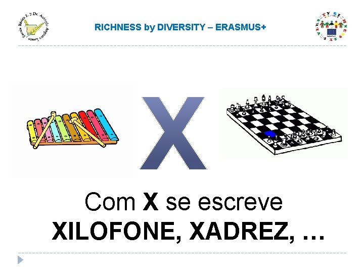 RICHNESS by DIVERSITY – ERASMUS+ Com X se escreve XILOFONE, XADREZ, …