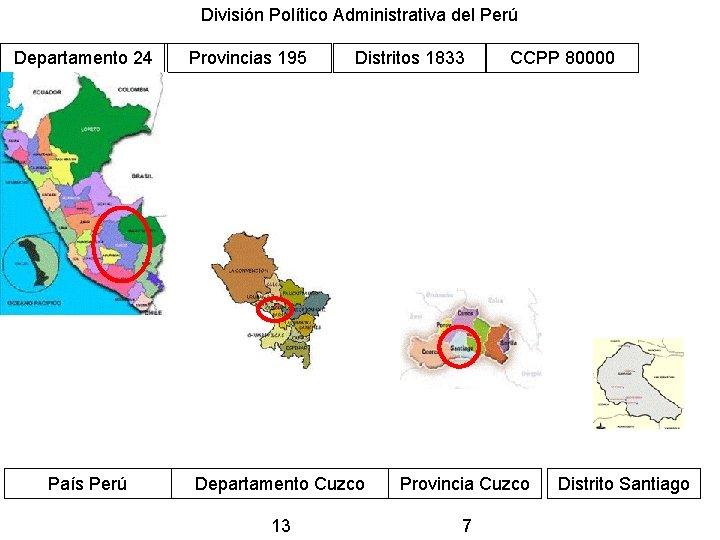 División Político Administrativa del Perú Departamento 24 País Perú Provincias 195 Distritos 1833 CCPP